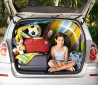 csomagtartó, kislány, bőröndök, utazás